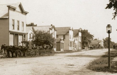 Lyndon Station, WI main street looking north in 1908.