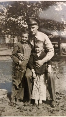 Home visit - 1941, My Dad August jr., Arnie and cousin Herman Buehler. Lyndon Station, WI